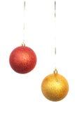Deux billes lumineuses de Noël Image stock