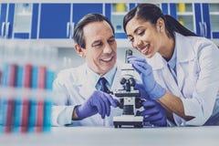 Deux bioengineers portant les gants bleus utilisant le microscope Photographie stock libre de droits