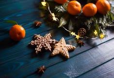 Deux biscuits de Noël sous la forme d'étoile et de flocon de neige avec des mandarines, des branches impeccables, des lumières de photo stock