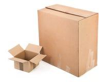 Deux boîtes en carton Photographie stock libre de droits