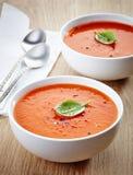 Deux bols de soupe à tomate Photographie stock libre de droits