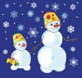 Deux bonhommes de neige Image stock