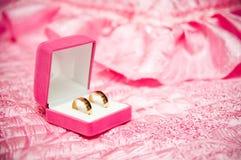 Deux boucles de mariage dans un cadre Images libres de droits