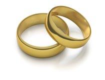 Deux boucles de mariage gravées d'or Photo libre de droits