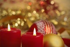 deux bougies brûlantes Photos stock