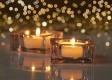 Deux bougies brûlantes Images libres de droits