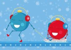 Deux boules d'ornement de Noël sont jouantes et appréciantes le traîneau illustration de vecteur