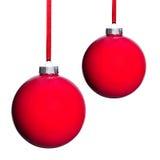 Deux boules rouges d'arbre de Noël Photos libres de droits
