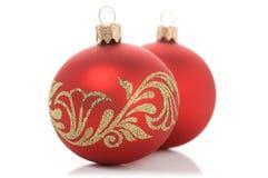 Deux boules rouges de Noël Image stock