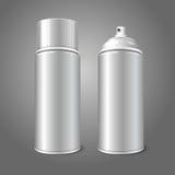 Deux bouteille en blanc en métal 3D de jet d'aérosol de vecteur Photo stock
