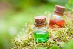 Deux bouteilles d'huile essentielle ou de breuvage magique magique sur la mousse Photo stock