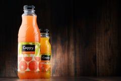 Deux bouteilles de jus de fruit de Cappy Photo libre de droits