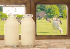 Deux bouteilles de lait Photo libre de droits