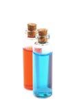 Deux bouteilles remplies de liquide coloré Image stock