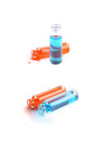 Deux bouteilles remplies de liquide coloré Images stock