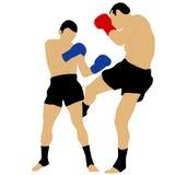Deux boxeurs combattant avec le bas coup-de-pied Image stock