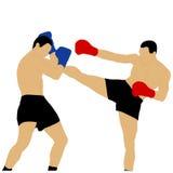 Deux boxeurs combattant avec le coup-de-pied élevé Photo libre de droits