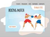 Deux boxeurs de combat, match de boxe Dirigez l'illutration, le calibre de conception du site de sport, l'en-tête, la bannière ou Photo stock
