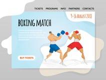 Deux boxeurs de combat, match de boxe Dirigez l'illutration, le calibre de conception du site de sport, l'en-tête, la bannière ou Images libres de droits