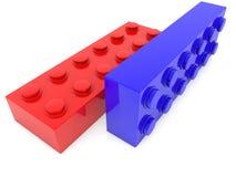Deux briques de jouet en bleu et rouge illustration libre de droits