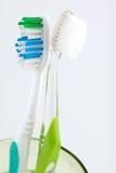 Deux brosses à dents dans une glace Photo libre de droits