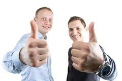 Deux businessmans heureux sur le blanc Image libre de droits