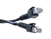Deux câbles noirs de réseau Images libres de droits