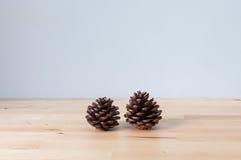 Deux cônes décorent sur la table Images stock