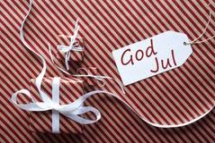 Deux cadeaux avec le label, Dieu juillet signifie le Joyeux Noël Image libre de droits