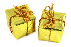 Deux cadeaux d'or Image libre de droits