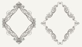 Deux cadres originaux de losange de calligraphie Photographie stock libre de droits