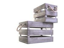 Deux caisses en bois avec des poignées de corde Photos libres de droits