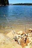 Deux cannes à pêche Images libres de droits