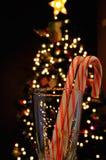 Deux cannes de sucrerie à Noël Photographie stock