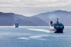 Deux car-ferries dans des sons de Marlborough, Nouvelle Zélande image libre de droits