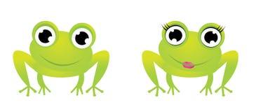 Deux caractères mignons de grenouille Photo libre de droits