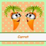 Deux carottes, caractère drôle sur le fond orange Images stock
