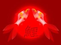 Deux carpes de koi avec l'hiéroglyphe illustration libre de droits