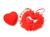 Deux cartes de jour du ` s de Valentine sur un fond blanc Photo libre de droits