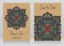 Deux cartes de mariage avec le bel ornement de dentelle Photo stock