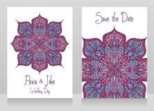Deux cartes de mariage avec le bel ornement de dentelle Image libre de droits