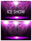 Deux cartes L'inscription est un spectacle sur glace Éclairage d'étape, podium, projecteurs Les confettis volent Fond pourpre illustration libre de droits