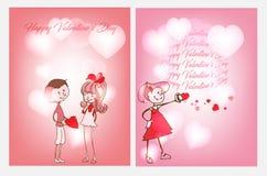 Deux cartes postales pour le jour du ` s de Valentine Photographie stock
