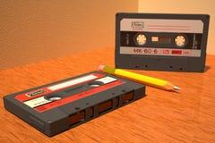 Deux cassette compacte soviétique 3D Photos stock