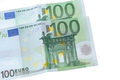 Deux cents euro billets de banque d'isolement sur le blanc Photos stock