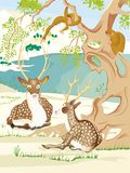 Deux cerfs communs de Kawanabe Kyosai image libre de droits