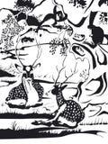 Deux cerfs communs de kyosai de Kawanabe en noir et blanc photo libre de droits
