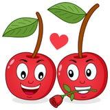 Deux cerises gaies de bande dessinée dans l'amour Photos stock