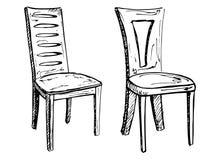 Deux chaises d'isolement sur le fond blanc Illustration de vecteur dans un style de croquis Images stock