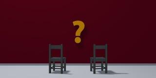 Deux chaises et symboles de point d'interrogation Photographie stock